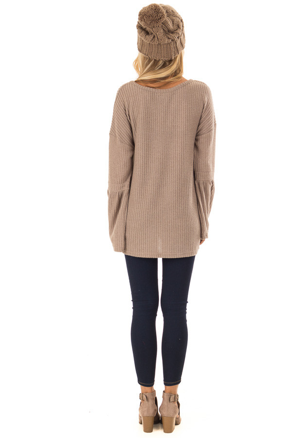 Mocha V Neck Waffle Knit Top with Long Bell Sleeves back full body