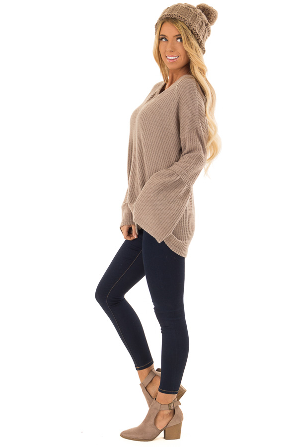 Mocha V Neck Waffle Knit Top with Long Bell Sleeves side full body