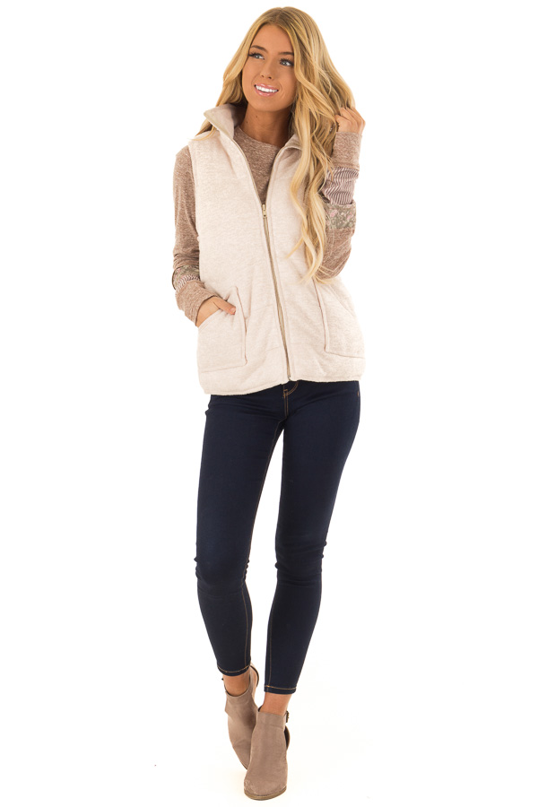 Oatmeal Zip Up Vest with Front Pockets front full body