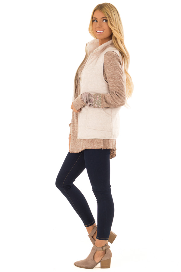 Oatmeal Zip Up Vest with Front Pockets side full body