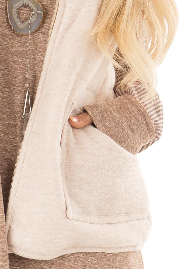Oatmeal Zip Up Vest with Front Pockets detail