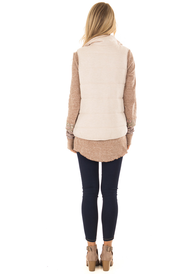 Oatmeal Zip Up Vest with Front Pockets back full body