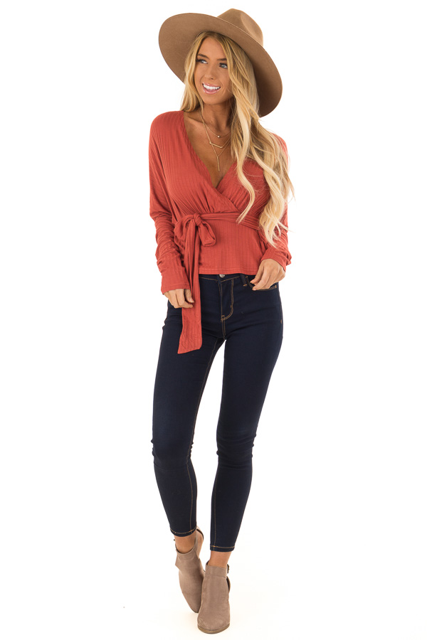 Brick Ribbed Deep V Neck Surplice Top with Tie Detail front full body