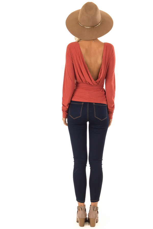 Brick Ribbed Deep V Neck Surplice Top with Tie Detail back full body