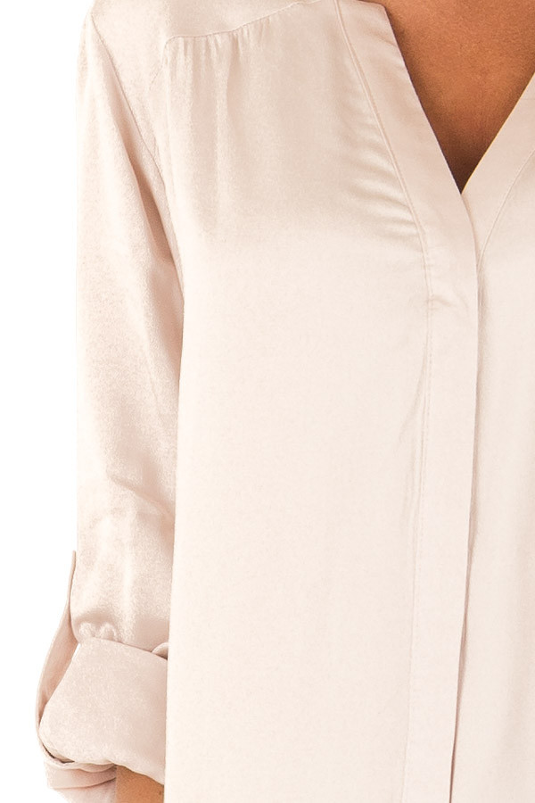 Blush Silky Button Up V Neck Top with Roll Up Sleeves detail