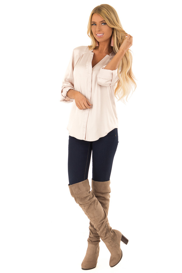 Blush Silky Button Up V Neck Top with Roll Up Sleeves front full body