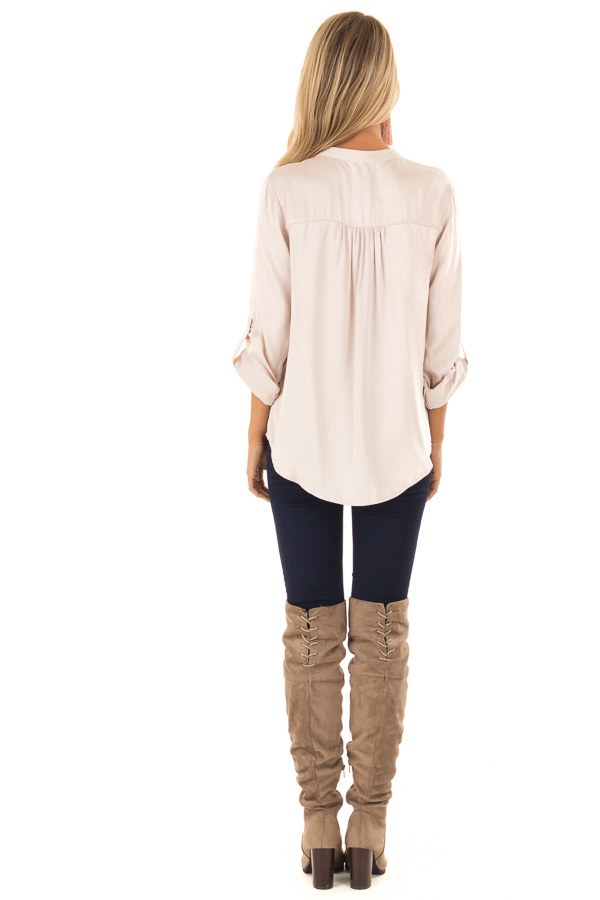 Blush Silky Button Up V Neck Top with Roll Up Sleeves back full body