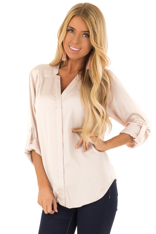 Blush Silky Button Up V Neck Top with Roll Up Sleeves front close up