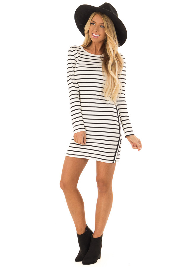 Black and white striped bodycon dress curtains clearance