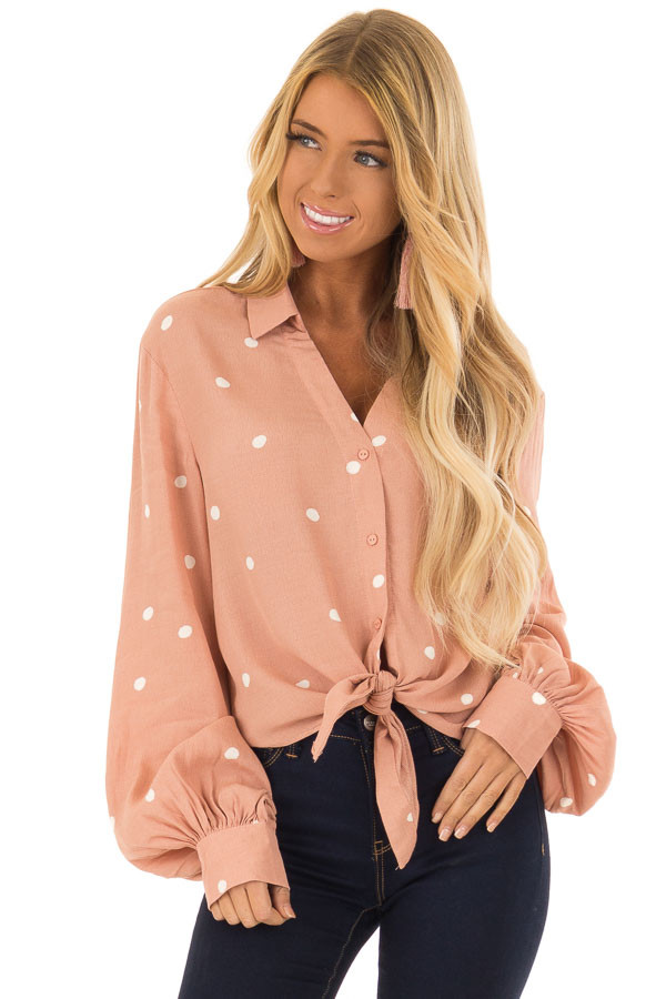 Blush and Ivory Polka Dot Button Up Blouse with Tie front close up