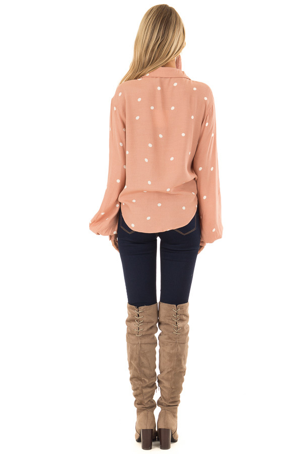 Blush and Ivory Polka Dot Button Up Blouse with Tie back full body