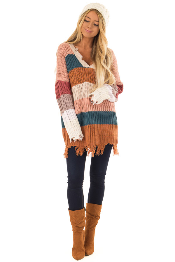 d25bcc780 ... Blush Teal and Burnt Orange Striped Sweater front full body ...