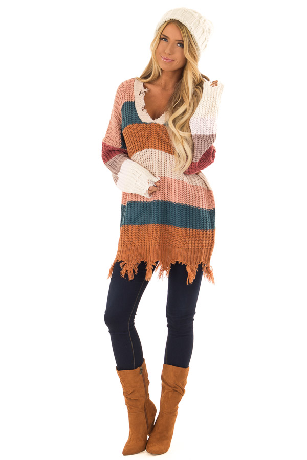 6dd2df41a Blush Teal and Burnt Orange Striped Sweater - Lime Lush Boutique