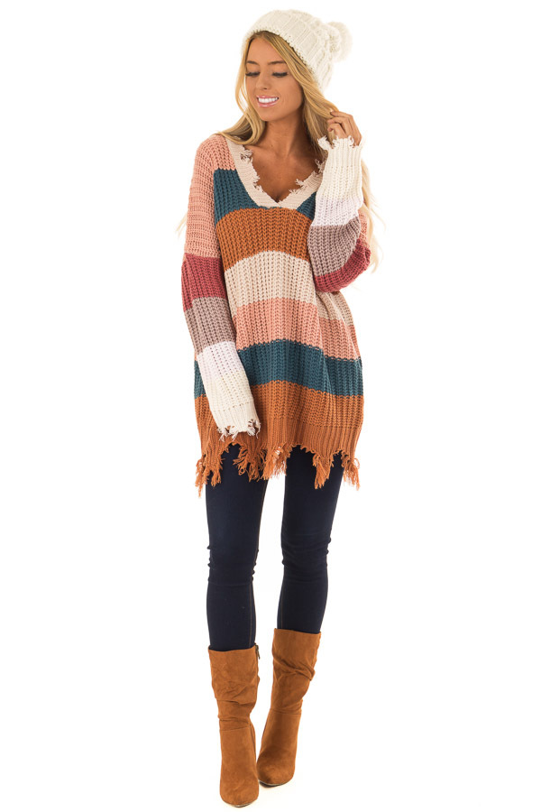 d77a83570 Blush Teal and Burnt Orange Striped Sweater - Lime Lush Boutique