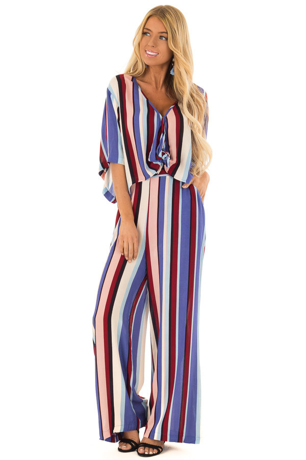 Multicolor Breezy Stripe V Neck Top with Kimono Sleeves front full body