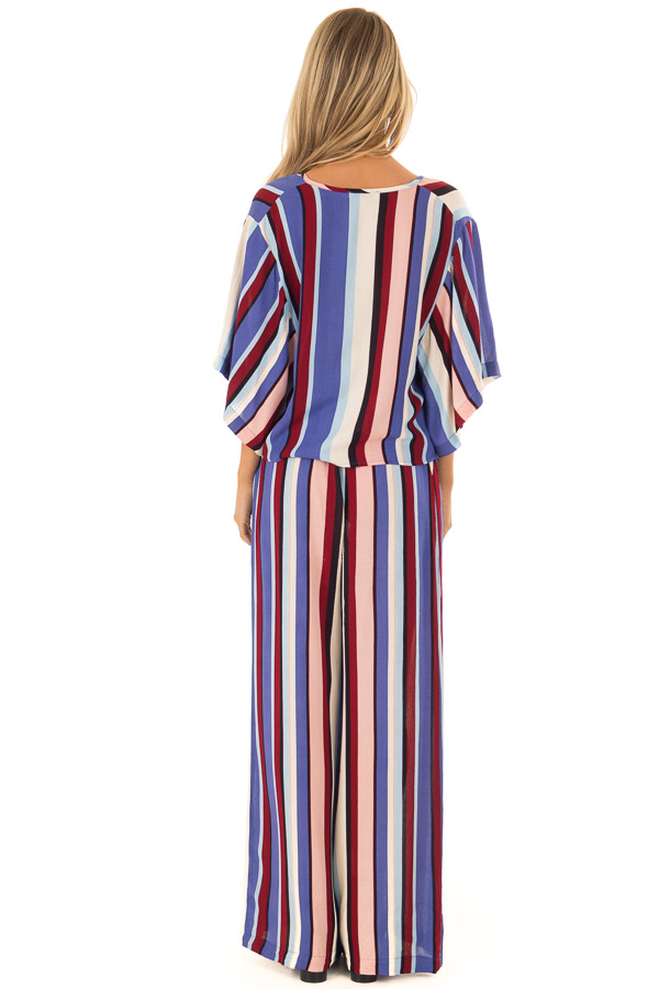 Multicolor Breezy Stripe V Neck Top with Kimono Sleeves back full body