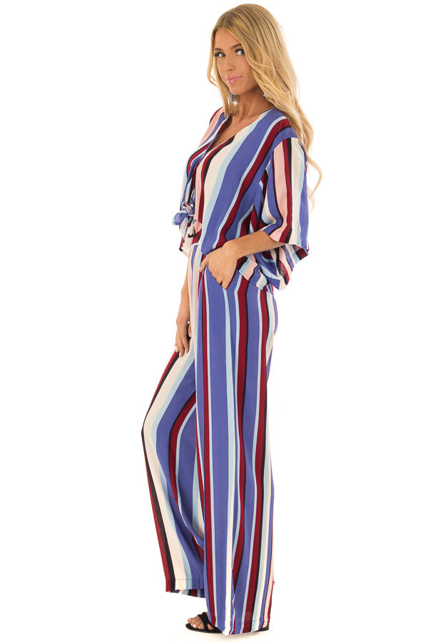 Multicolor Breezy Stripe V Neck Top with Kimono Sleeves side full body