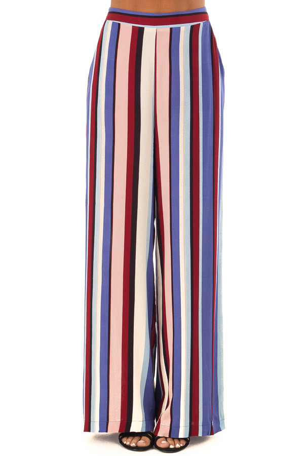 Multicolor Wide Leg Striped Palazzo Pants front view