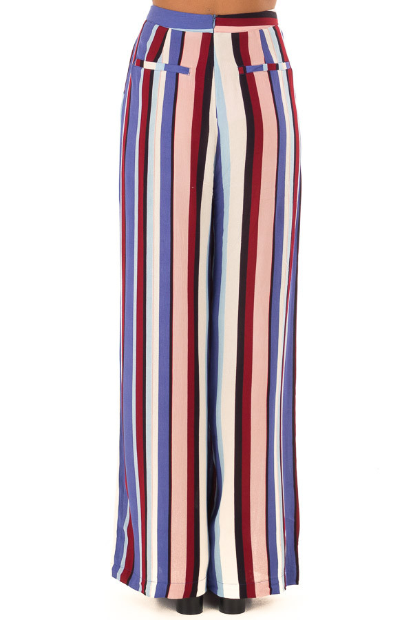 Multicolor Wide Leg Striped Palazzo Pants back view