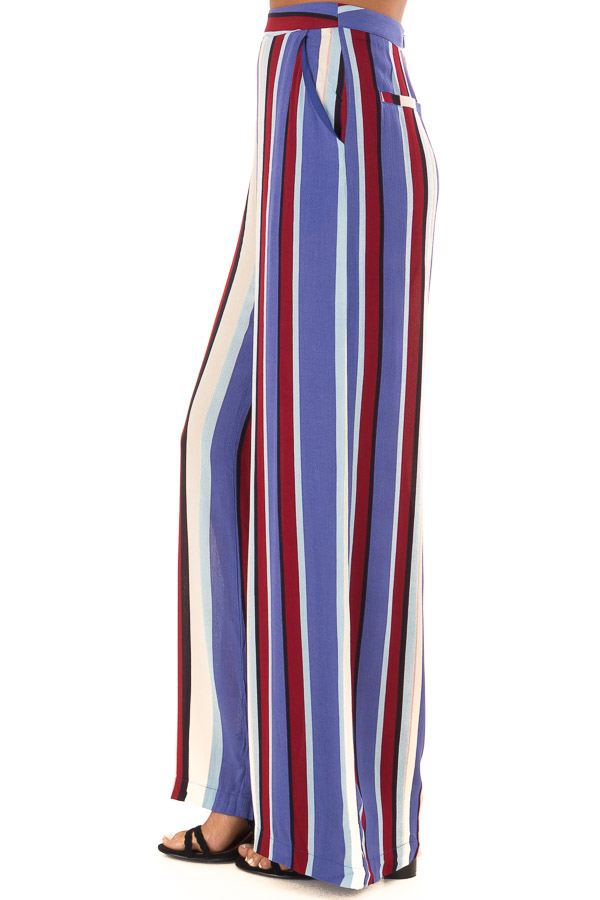Multicolor Wide Leg Striped Palazzo Pants side view