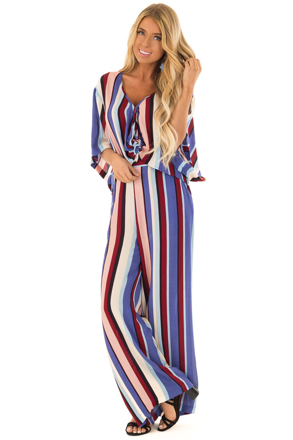 Multicolor Wide Leg Striped Palazzo Pants front full body