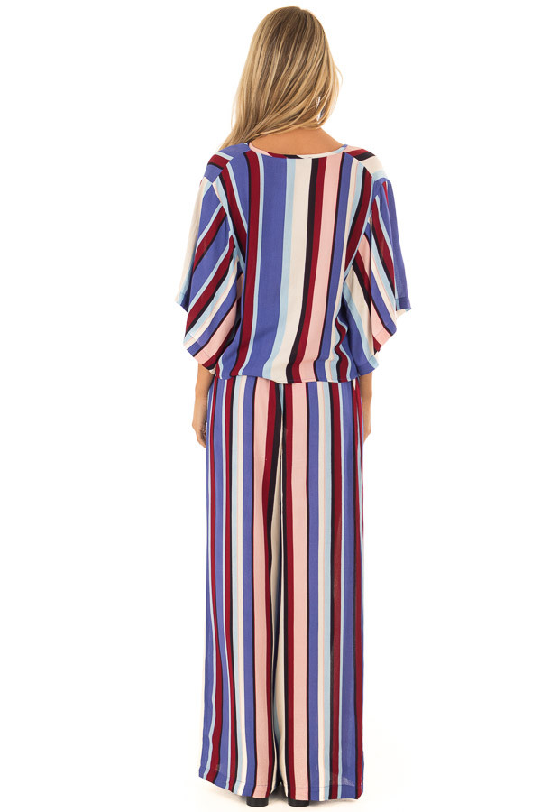 Multicolor Wide Leg Striped Palazzo Pants back full body