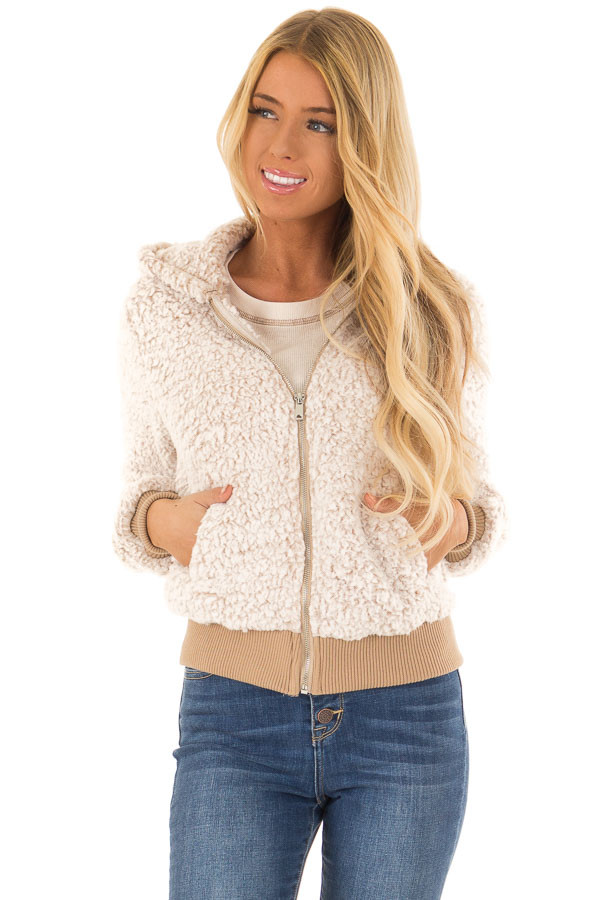 Oatmeal Sherpa Zip Up Hooded Jacket with Pockets front full body