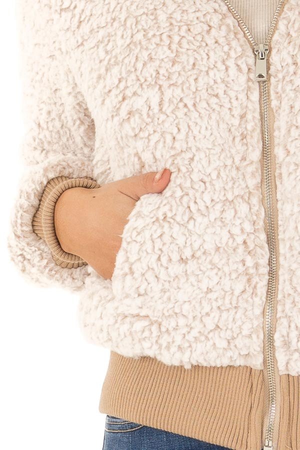 Oatmeal Sherpa Zip Up Hooded Jacket with Pockets detail