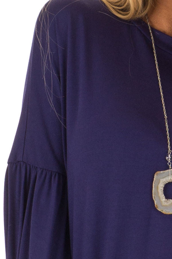 Navy Rounded Neckline Top with Bishop Sleeves detail