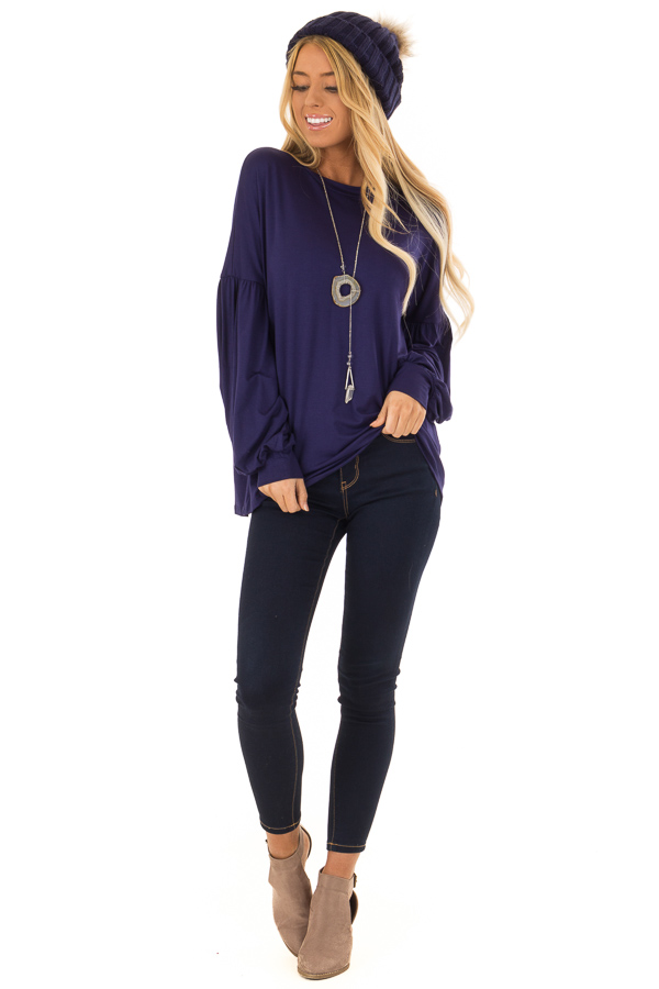 Navy Rounded Neckline Top with Bishop Sleeves front full body