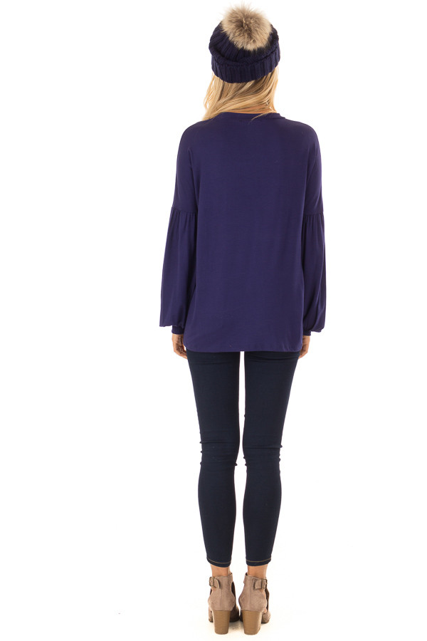 Navy Rounded Neckline Top with Bishop Sleeves back full body