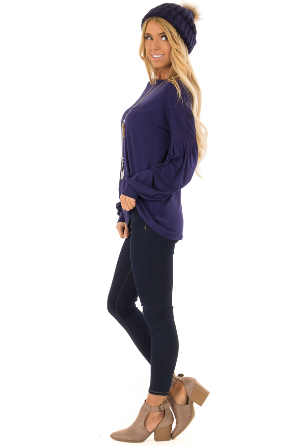 Navy Rounded Neckline Top with Bishop Sleeves side full body