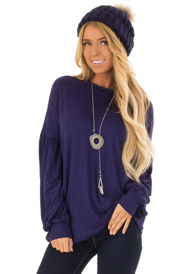 Navy Rounded Neckline Top with Bishop Sleeves front close up