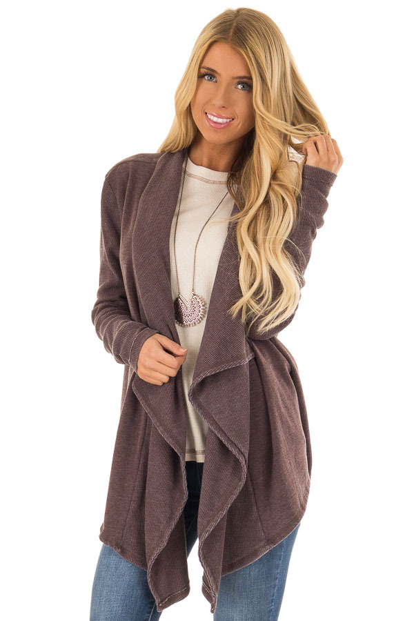Dusty Plum Draped Open Front Long Sleeve Cardigan front close up