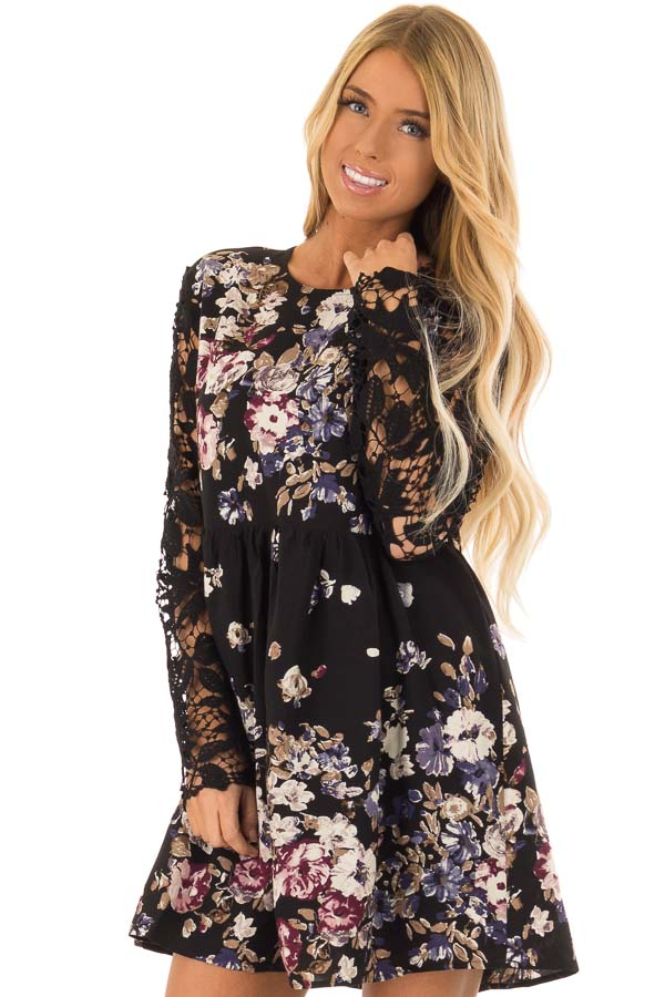 212fee3d6a5 Raven Black Multi Floral Babydoll Dress with Lace Sleeves front close up