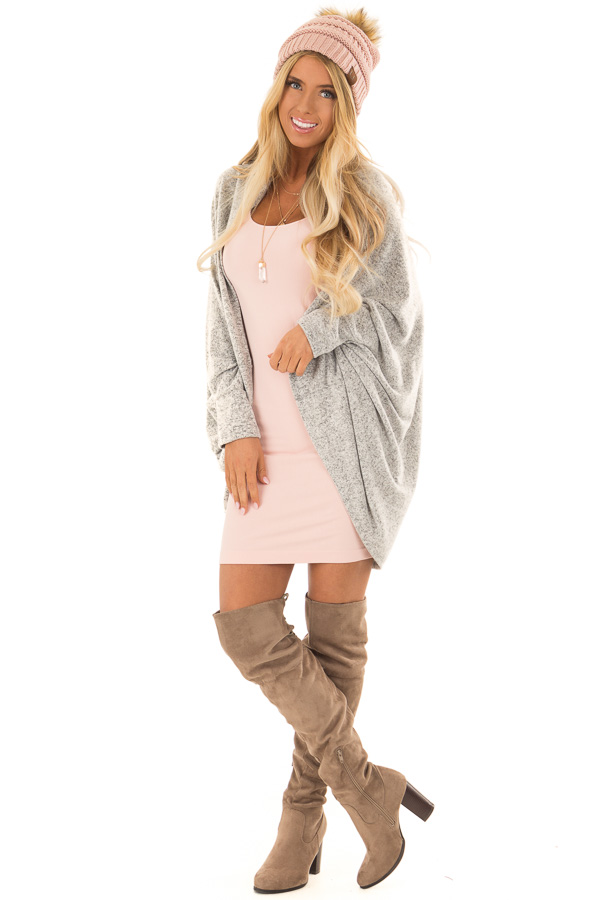 Heather Grey Open Front Cardigan with 3/4 Sleeves front full body