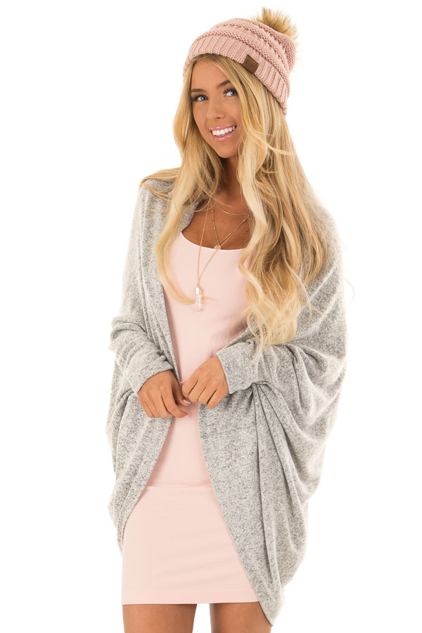 Heather Grey Open Front Cardigan with 3/4 Sleeves front close up