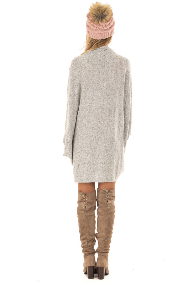 Heather Grey Open Front Cardigan with 3/4 Sleeves back full body
