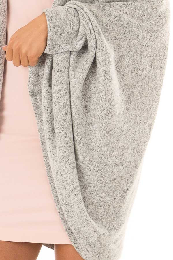 Heather Grey Open Front Cardigan with 3/4 Sleeves detail