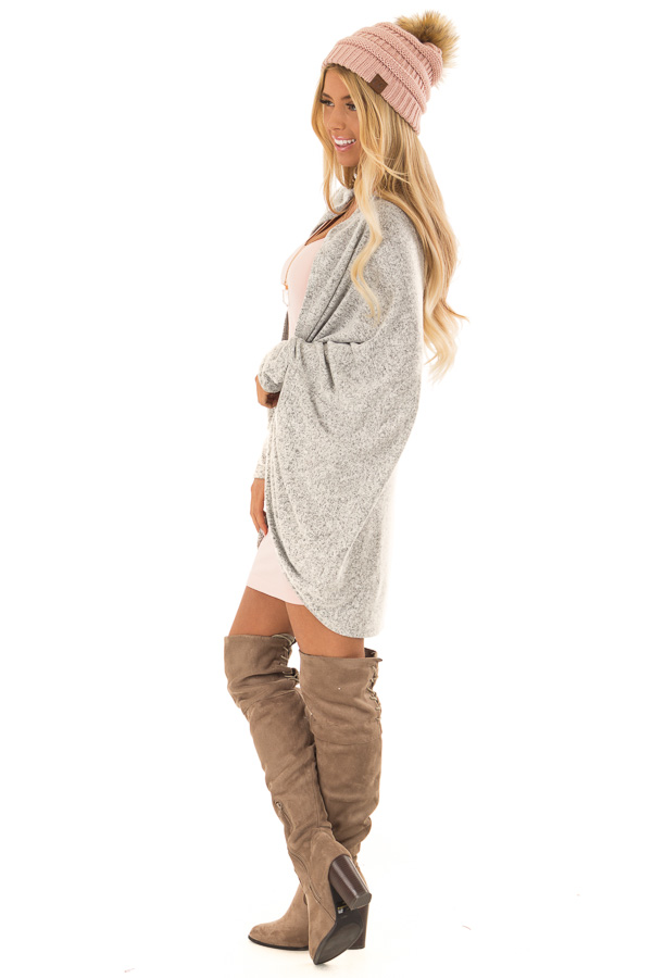 Heather Grey Open Front Cardigan with 3/4 Sleeves side full body