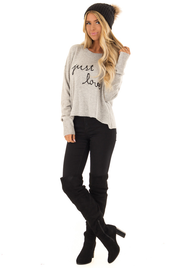 Heather Grey Cozy Long Sleeve 'Just Love' Sweater front full body