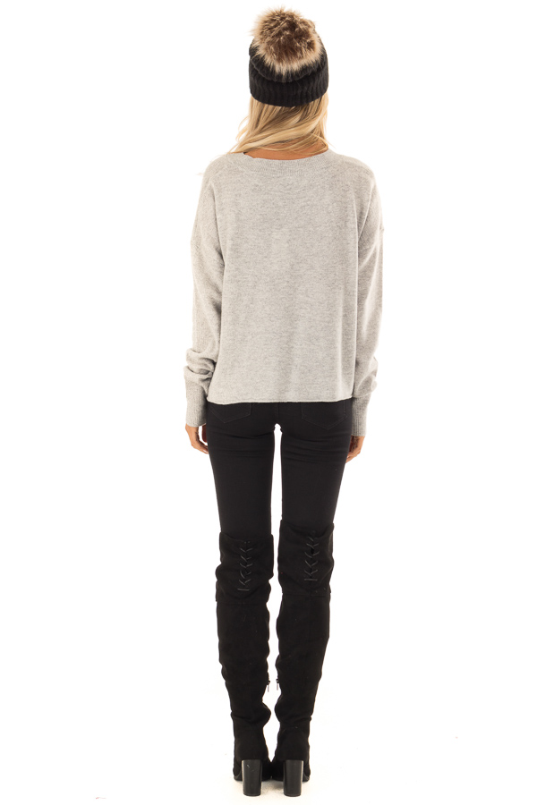 Heather Grey Cozy Long Sleeve 'Just Love' Sweater back full body