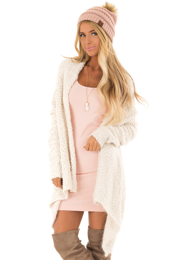 284058f4b7 Cream Popcorn Knit Comfy Long Sleeve Cardigan - Lime Lush Boutique