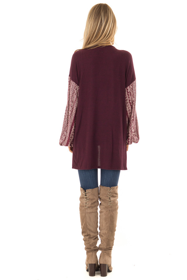 Wine Open Front Cardigan with Aztec Puff Sleeve Contrast back full body