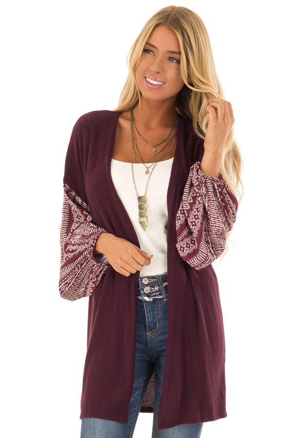 Wine Open Front Cardigan with Aztec Puff Sleeve Contrast front close up