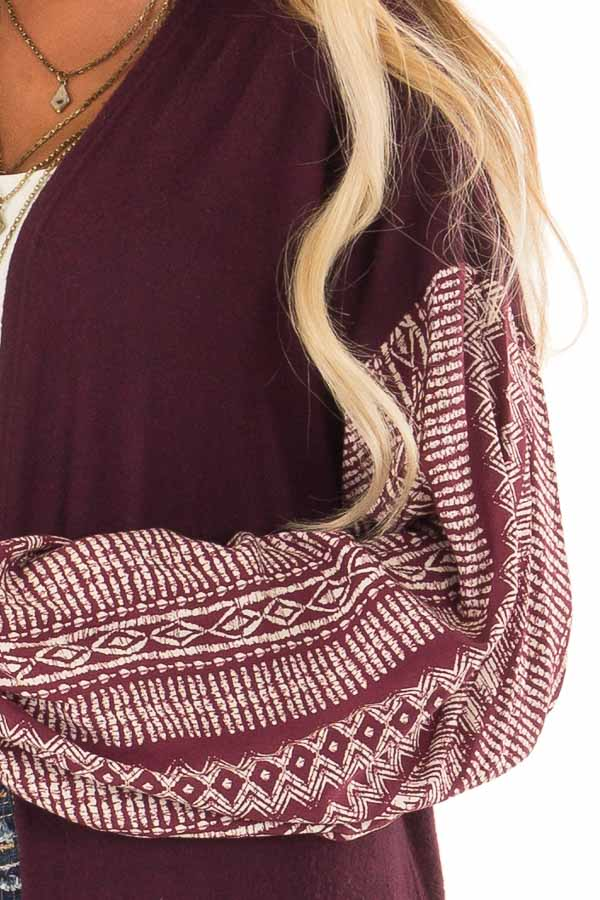 Wine Open Front Cardigan with Aztec Puff Sleeve Contrast detail