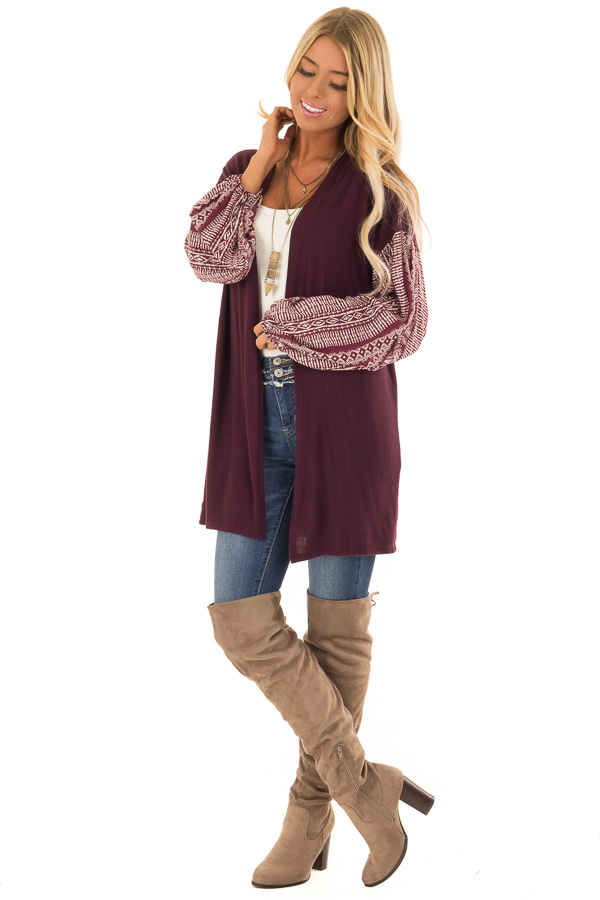 Wine Open Front Cardigan with Aztec Puff Sleeve Contrast front full body