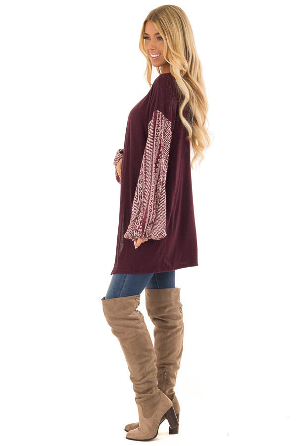 Wine Open Front Cardigan with Aztec Puff Sleeve Contrast side full body