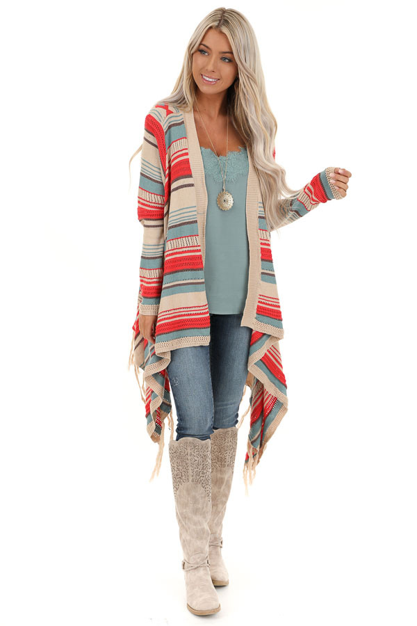 Tan and Strawberry Striped Geometric Print Fringe Cardigan front full body