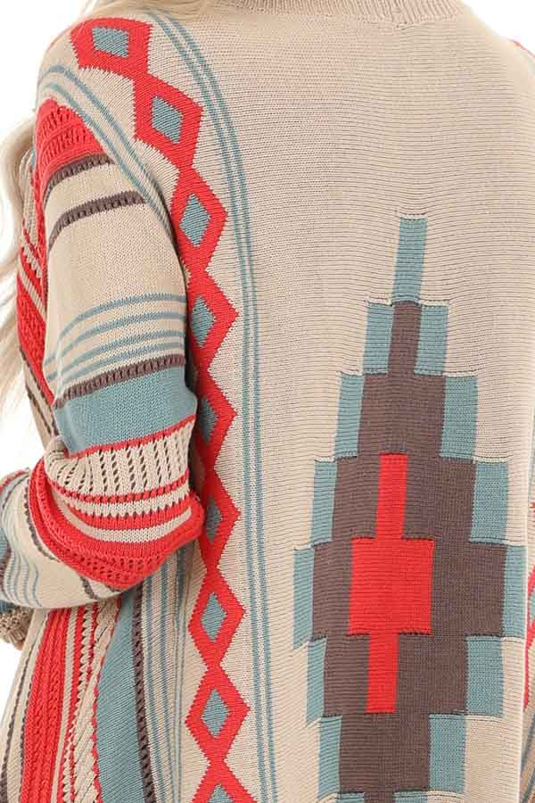 Tan and Strawberry Striped Geometric Print Fringe Cardigan detail